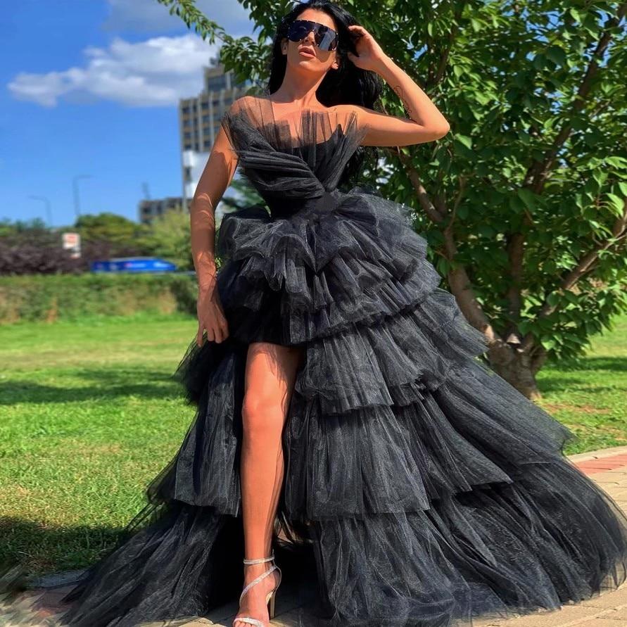 Plus Size Evening Dresses Gown Long 2020 Moman Party Formal Prom Black Dress