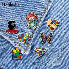 2019 nuevo Autistic símbolo acrílico solapa Pin autismo concientización broche Pin Color plata arte Epoxy broches(China)