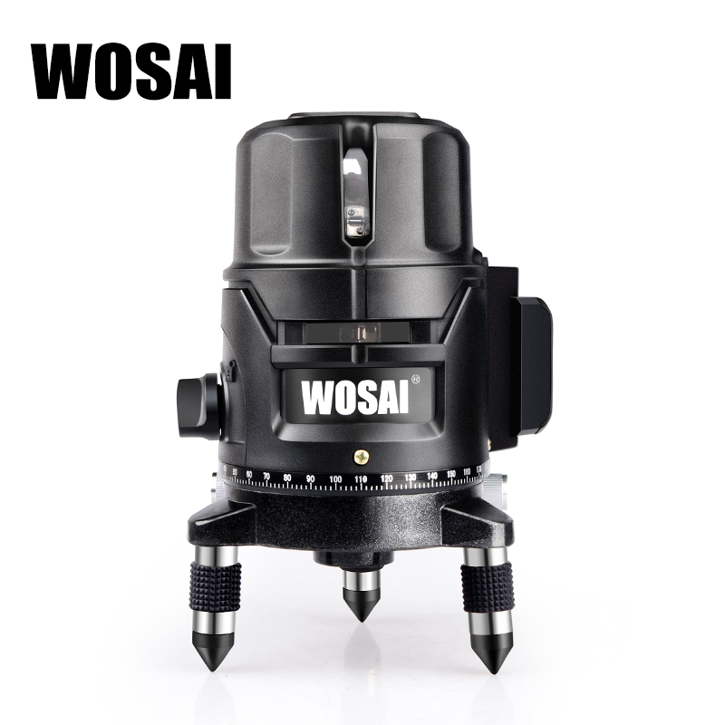 WOSAI Touch The Keys 5 Line 6 Points Lithium Battery Green Laser Level Self-leveling Horizontal&Vertical 360 Degree Adjustment