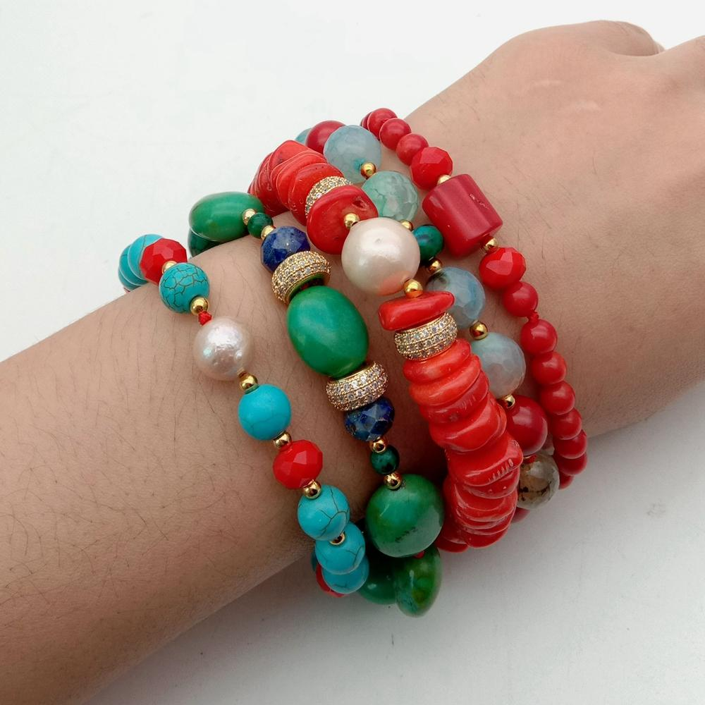 5 Strands natural freshwater Pearl round howlite rondelle orange red Coral Lapis Crystal statement Bracelet handmade for women