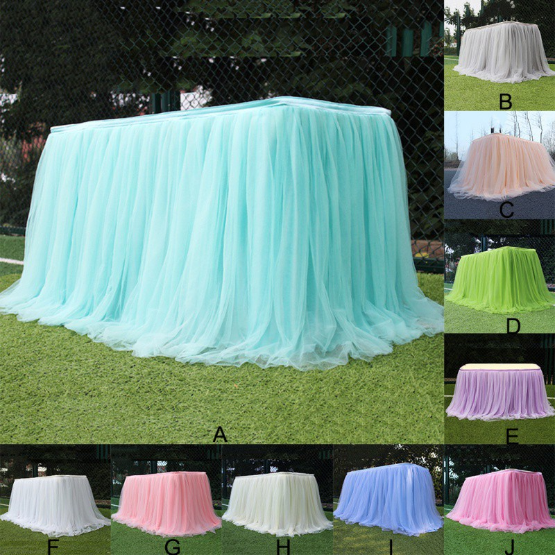 Tulle Tutu Table Skirt For Wedding Baby Shower Party Tablecloth Decorative Skirt Home Textile Desk Decor Multi-Color