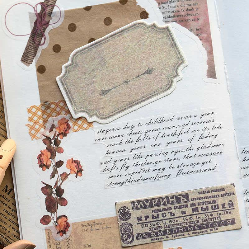 Vintage Romance Kotak Korek Api Diary Stiker Set Retro Stempel Huruf Ditulis Stiker Scrapbooking Bullet Journal Stiker Label