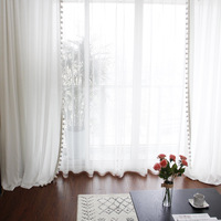 Tulle Curtain White Yarn Pure Color Curtain For Livingroom Kitchen Bedroom Home Decoration Chiffon Sheer Breathable CurtainVoile