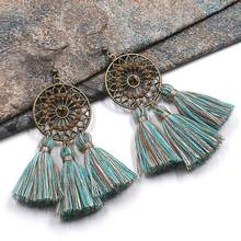 Boho Dreamcatcher DROP Dangle ต่างหู Fringe VINTAGE Statement ต่างหูแฟชั่น(China)
