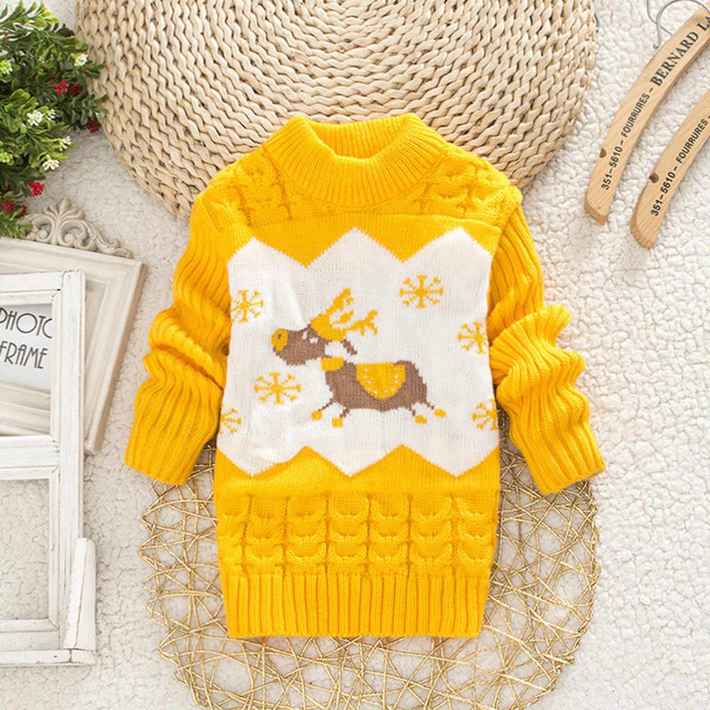 Свитер для малышей; топы для детей; теплый свитер с рождественским оленем для девочек; вязаная футболка с длинными рукавами; теплая однотонная одежда с оборками