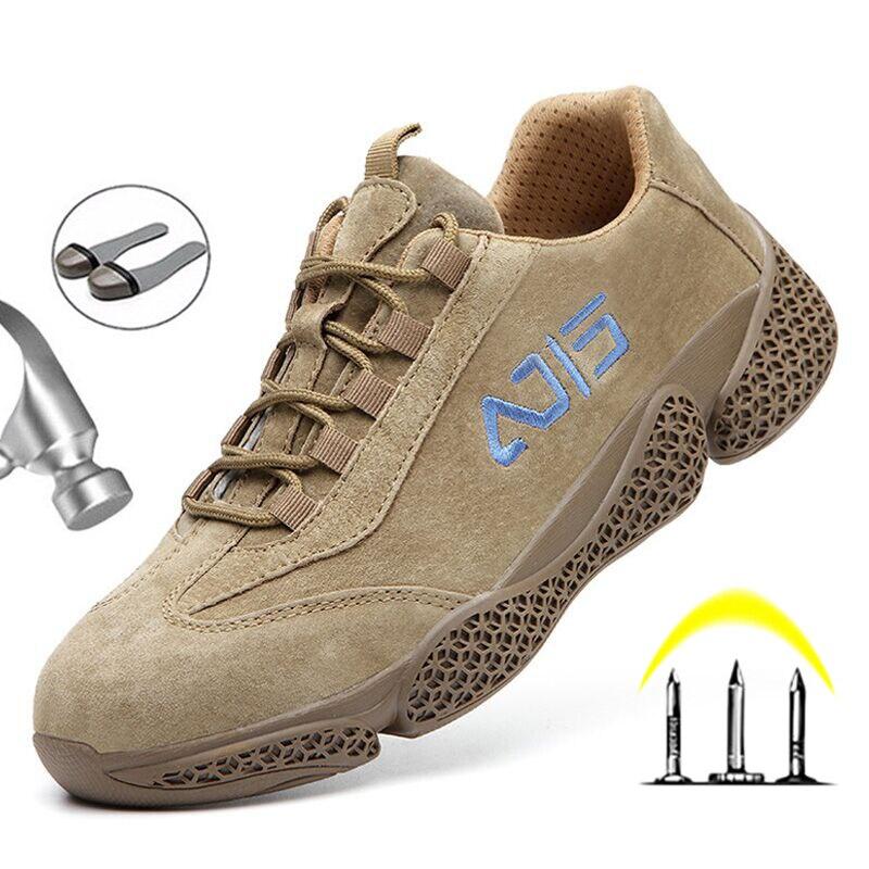Защитная обувь для мужчин со стальным носком, неразрывная Рабочая защитная обувь, Мужская Безопасная рабочая обувь с защитой от проколов, з...