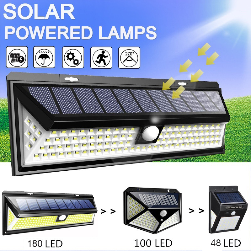 48/100/180 LED Solar Wall Light 3 Modes Solar Lamp Outdoor PIR Waterproof Motion Sensor Lights Street Garden Yard Lamps Dropship
