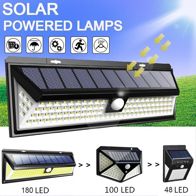 48/100/180 LED Solar Wall Light 3 Modes Solar Lamp Outdoor PIR Waterproof Motion Sensor Lights Street Garden Yard Lamps Dropship