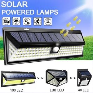 48/100/180 LED Solar Wall Light 3 Modes Solar Lamp Outdoor PIR Waterproof Motion Sensor Lights Street Garden Yard Lamps Dropship(China)