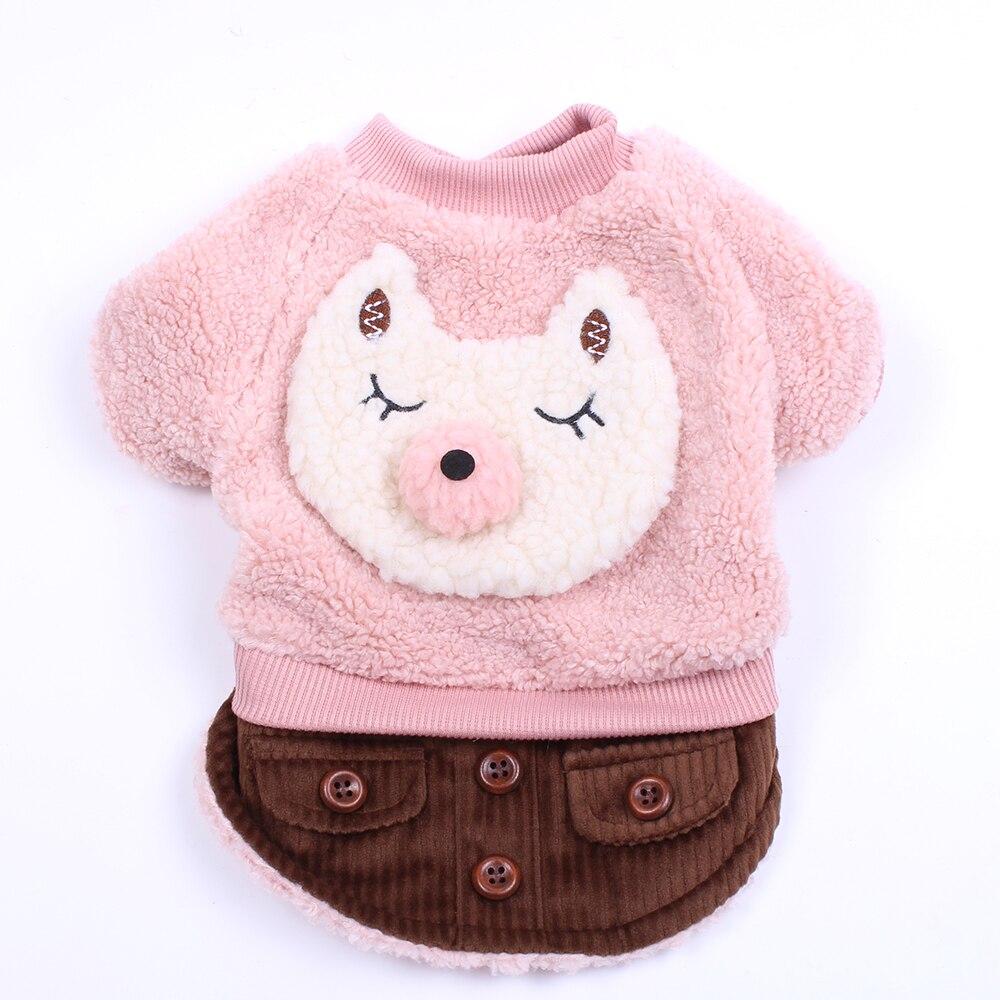 Dog Warm Dress Coat Jacket Fleece Corduroy Cat Puppy Hoodie Sweater Winter Warm Apperal 5 Sizes 2 Colours