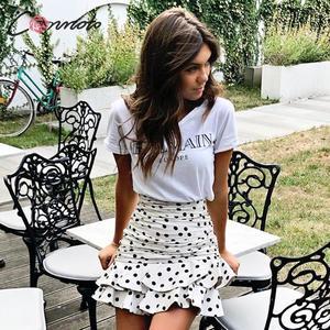 Image 3 - Conmoto mini saia feminina vintage, plissada, outono/inverno, cintura alta, plissada, branca, de 2019