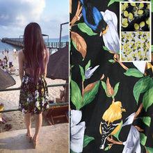 Peônia pássaro impresso algodão cetim tecido amarelo roupas moda camisa pijamas diy tecidos de pano por metro para vestido costura