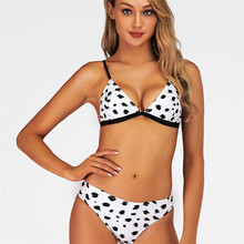 Cow Print Bikini 2019 Sexy Mujer Thong Plus Size Swimwear Women Mini White Swimsuit Sexy Push Up Micro Bowknot Bathing Suit S-XL red lime bikini top 2019 micro mini thong bikini g string swimsuit solid patchwork push up bathing suit swimwear women plus size