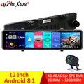 Автомобильный видеорегистратор WHEXUNE  12 дюймов  4G  Android 8 1  GPS навигация  ADAS  Full HD 1080P