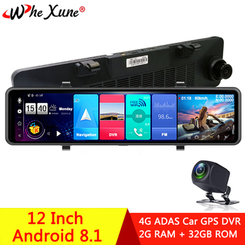 WHEXUNE 2020 New 12 Car Rearview Mirror 4G Android 8.1 Dash Cam GPS Navigation ADAS Full HD 1080P Car Video Camera Recorder DVR image