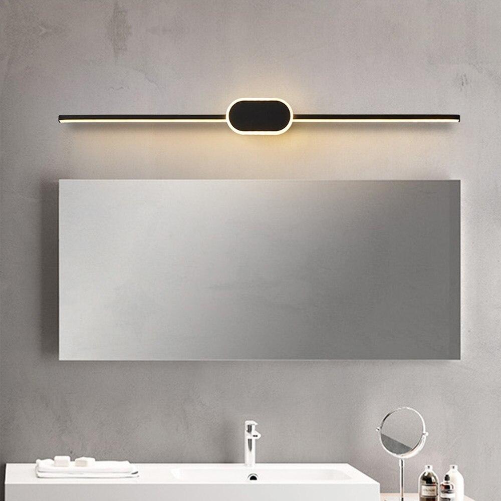 Moderne Spiegelleuchte Weiß Aluminium Spiegellampe Schwarz Lineare  Schminklicht mit Silikon Lampenschirm für Schlafzimmer Badezimmer Schrank  ...