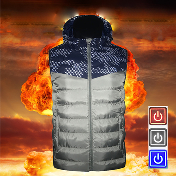 2019 New Men's USB Smart Electric Heated Vest Thermal Warm Clothing Feather Outdoor Hot Sale Heating Waistcoat Winter Jacket