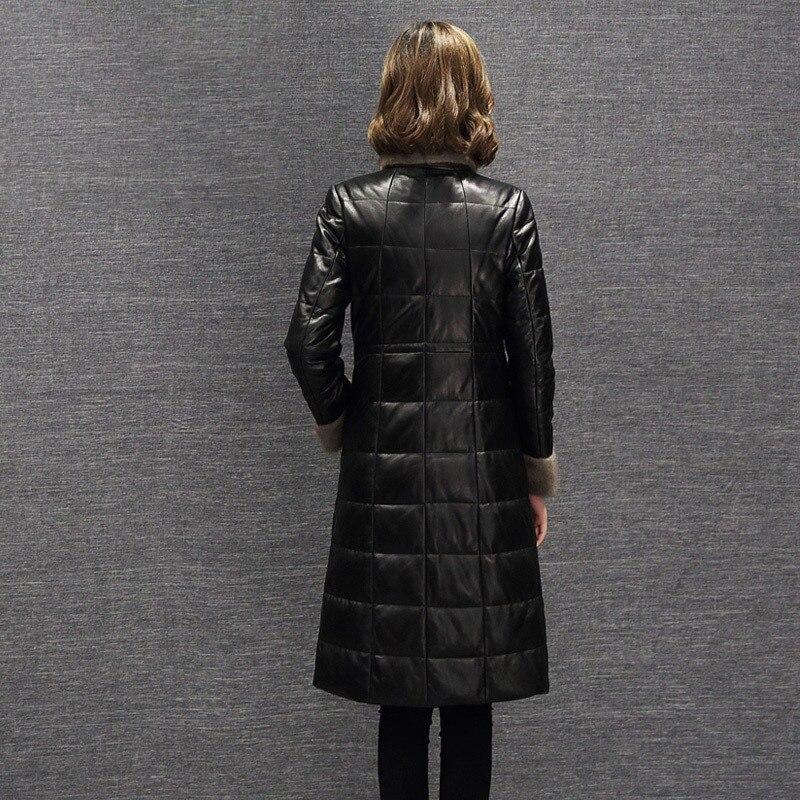 Women's Genuine Leather Jacket Autumn Winter Sheepskin Coat Long Down Jacket Mink Fur Collar Jackets Veste En Cuir KJ775