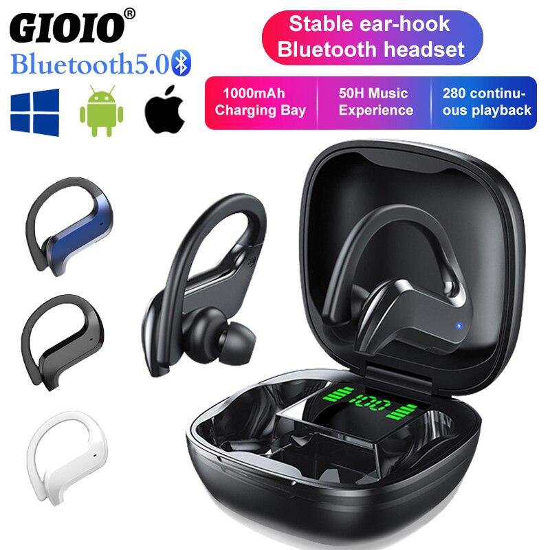 MD03 TWS беспроводные Bluetooth-наушники; Стабильные наушники с ушным крючком и сенсорным управлением; Цифровой дисплей для Oppo, Huawei, Iphone, Xiaomi; Спорти...