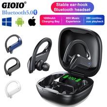 MD03 TWS bezprzewodowe słuchawki Bluetooth stabilny zaczep na ucho sterowanie dotykowe cyfrowy wyświetlacz dla Oppo Huawei Iphone Xiaomi sportowe słuchawki douszne