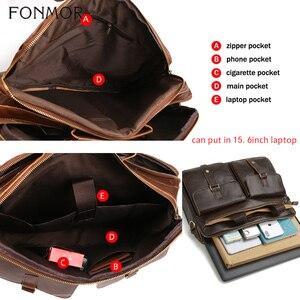 Image 5 - Fonmor New 100%Cowhide Briefcases Men Big Totes Genuine Leather Handbag Zipper Male Business Hasp Pocket Soft Handle Bags
