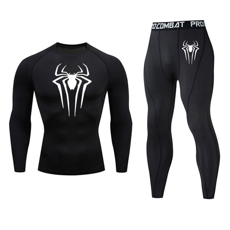 Spider-Man Tights Men's Full Suit Tracksuit Compressed Sportswear Winter Outdoor Fitness Running Thermal Underwear Base Layer
