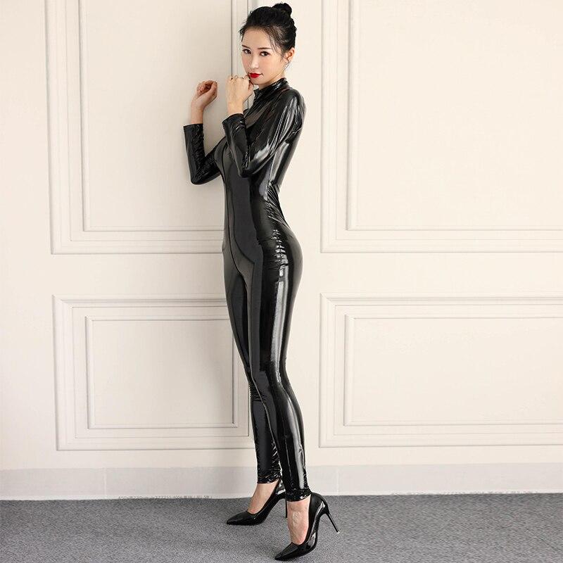 Elastische Engen Gestaltung Zipper Öffnen Gabelung PVC Latex Overall Shiny Voll Körper Sexy Body Frauen PU Faux Leder Erotische Overalls