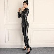 Combinaison en Latex de PVC pour femmes, combinaison en Faux cuir, combinaison érotique brillante et Sexy pour tout le corps