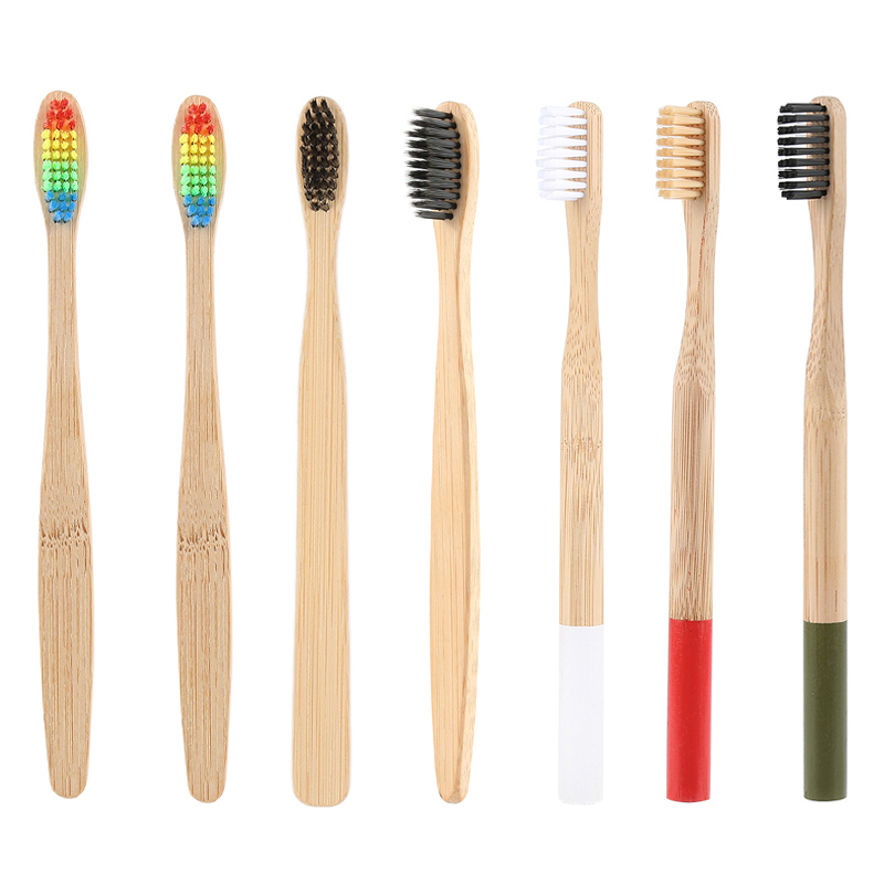 1PC Natural Eco Friendly Bamboo Handle Toothbrush Rainbow Colorful Whitening Soft Bristles Bamboo Toothbrush Oral Care