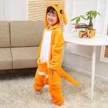 Pijama Kigurumi Canguru Crianças Animais crianças Pijamas para Meninos das Meninas Do Bebê Bonito Pijama Onesies Inverno Sleepwear Manga Longa