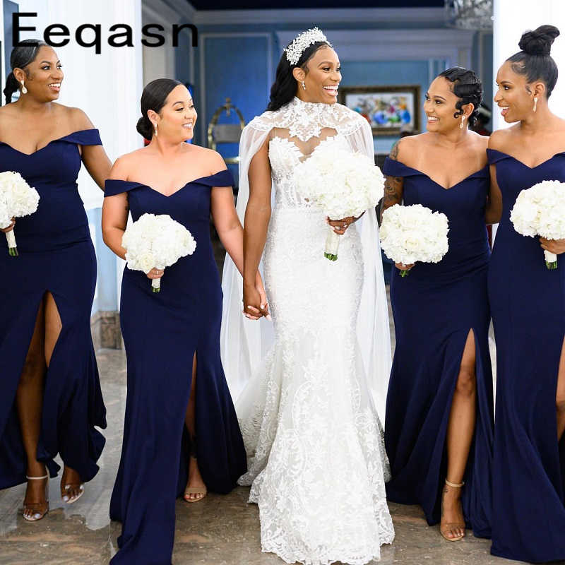 African Navy Blue Bridesmaids Dresses Off Shoulder Wedding Guest Party  Gowns Maid of Honor Women Plus Size Dress Cheap