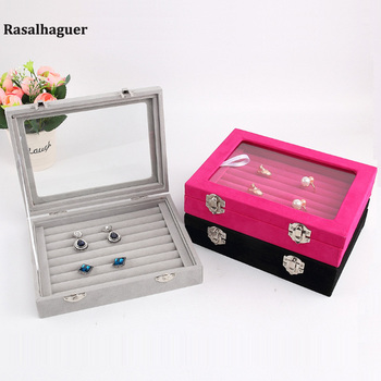 20*15*4.8cm Small Velvet Jewelry Ring Earring Necklace Pendant Display Organizer Box Flat Stackable Tray Holder Storage Showcase oirlv luxury silver gray jewelry display tray earring ring pendant necklace display tray holder jewelry showcase box organizer
