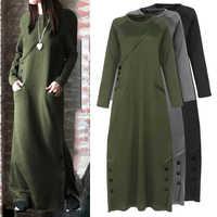 Celmia Women Sweatshirt Dress 2020 Autumn Winter Fleece Maxi Long Dress Casual Pullovers Long Sleeve Button Basic Vestidos 5XL 7