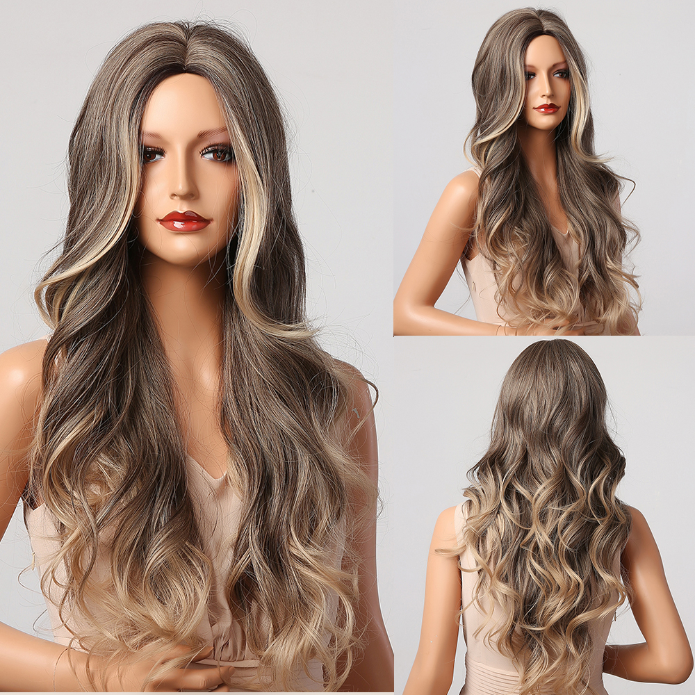 HENRY MARGU Long Brown Blonde Ombre Wavy Wigs Synthetic Natural Wigs Middle Part Daily Cosplay Wigs for Women Heat Resistant