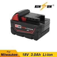 Kinsun Power Tool Batterij 18V 3.0Ah Li-Ion Voor Milwaukee Draadloze Boor Schroevendraaier M18 2601 2610 2611 2620 2630
