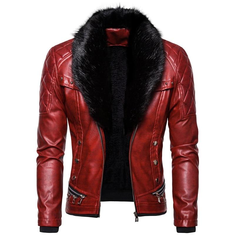 ABOORUN Mens Punk Rivet Zipper Leather Jacket Detachable Fur Collar Red Black Slim Motorcycle Biker Thicken Leather Jacket R2938