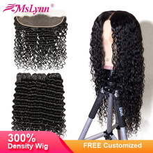 4x13 Lace Front Human Hair Wigs Deep Wave Bundles With Frontal Closure Free Customized Into Wig Brazilian Wigs Mslynn Remy Hair(China)