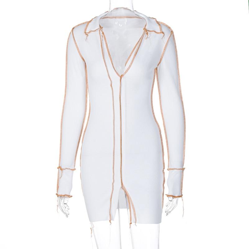 Hd838cb0a534448a2a825f023e35e85446 - Hugcitar 2020 Long Sleeve Patchwork Sexy Mini Dress Autumn Winter Women Fashion Streetwear Outfits Clit Club Y2K Clothing