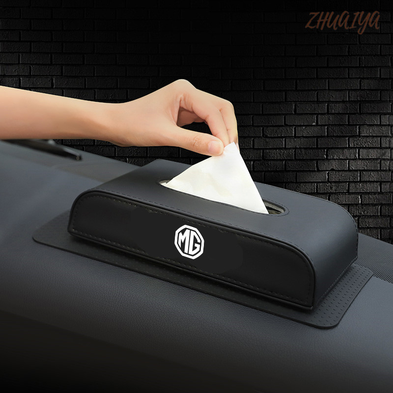 Car Tissue Box Cover Tissue Box Boxes Holder PU Leather Towel Inside Paper Block  Accessories For MG Logo Zs Gs 350 Tf Orkina