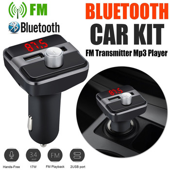 Car Mp3 Player Wireless Bluetooth Car Fm Transmitter Radio Lcd Aux Sd Card Dual 2 Usb Charger Mp3 Player Car Electronics image