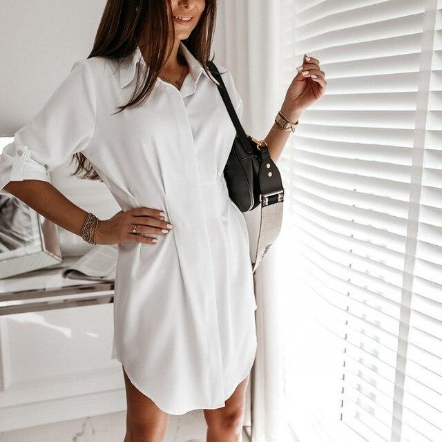 Women Autum Long Sleeve Mini Dress OL Casual Work Plain Mini Dress Ladies party sexy elegant Office Dresses vestido verano 4