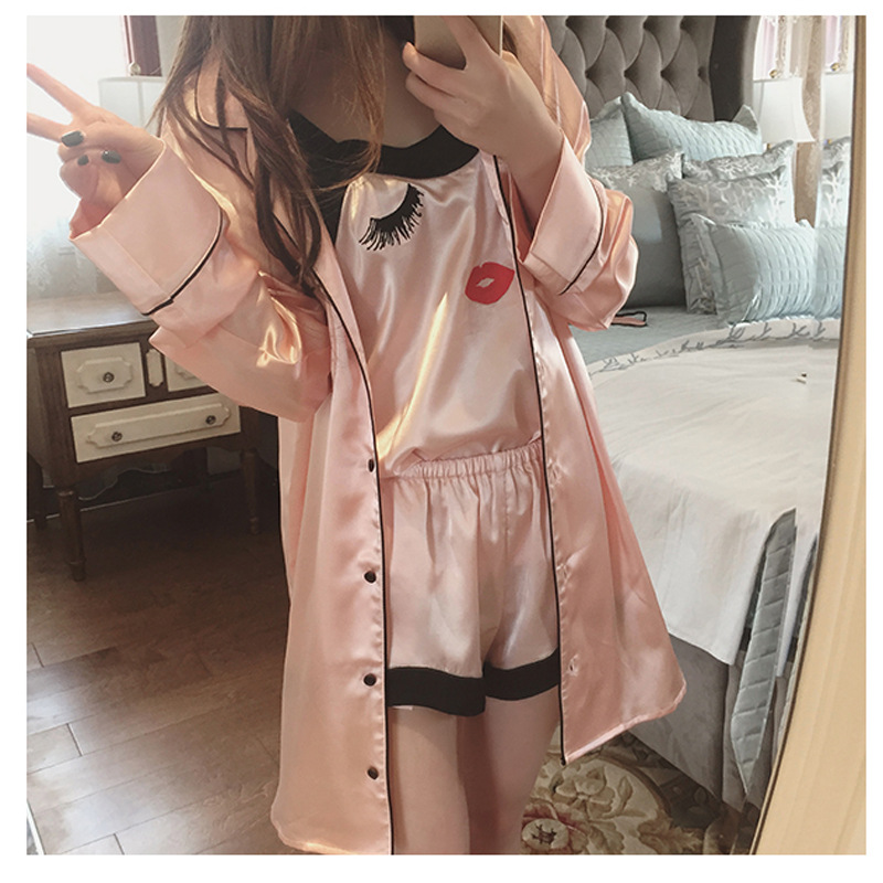 Summer Imitated Silk Fabric GIRL'S Pajamas Long Sleeve Shorts Sling Nightgown Casual Eyelash Four-piece Set Tracksuit Send Eye P