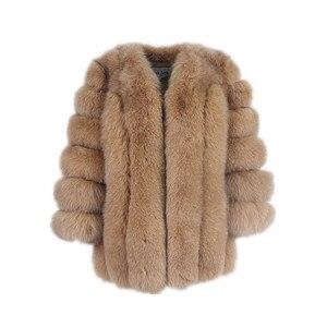 Image 5 - pink java QC8128 new arrival women winter clothes real fox fur coat natural fox fur jacket  hot sale big fur long sleeve