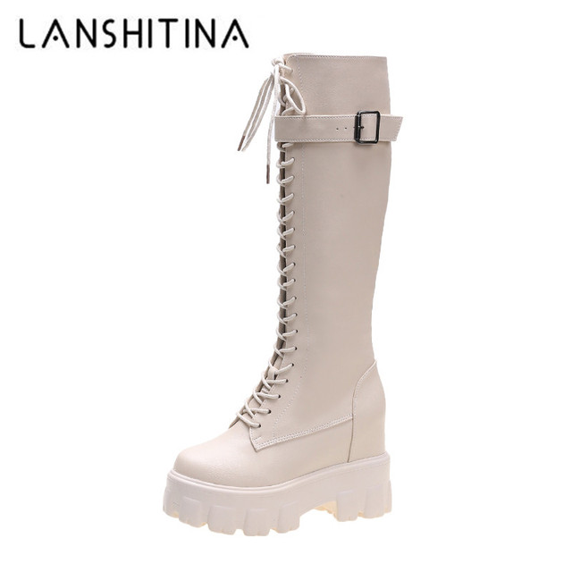 $ US $22.71 Women's Platform Knee High Boots Fashion Cross-tied Long Boots Winter Short Plush Warm Motorcycle Boots Buckle Platform Sneakers