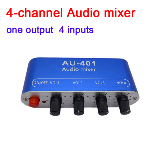 dykb 4 WAY Stereo Audio Signal Mixer Board Drive headphone power amplifier Mixing Board one output 4 WAY input DC 5V   12V