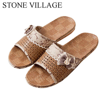 2020 Indoor Women Shoes Butterfly-Knot Straw Mat Sandals Summer Home Slippers Women Interior Wooden Floor Slippers Men 2016 home slippers women indoor floor flax slippers men breathable linen slipper home bedroom slippers women shoes awm116
