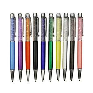 Image 2 - Hurtownie 100 sztuk długopis kryształowy diament dekoracyjny długopis 0.7mm długopis wskazówka wszystkie materiał metaliczny Student długopis biurowy na prezent