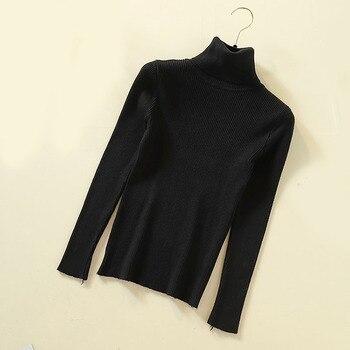 Lucyever Turtleneck Women Knitted Pullovers Sweater Fashion Autumn Winter Soft Jumper Korean Slim Long Sleeve Girls Basic Tops 8