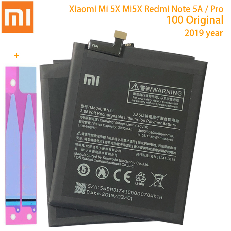 Original <font><b>XIAOMI</b></font> BN31 Replacement <font><b>Battery</b></font> For <font><b>Xiaomi</b></font> Mi 5X Mi5X A1 <font><b>MiA1</b></font> Redmi Note 5A Authentic Phone <font><b>Batteries</b></font> 3080mAh image