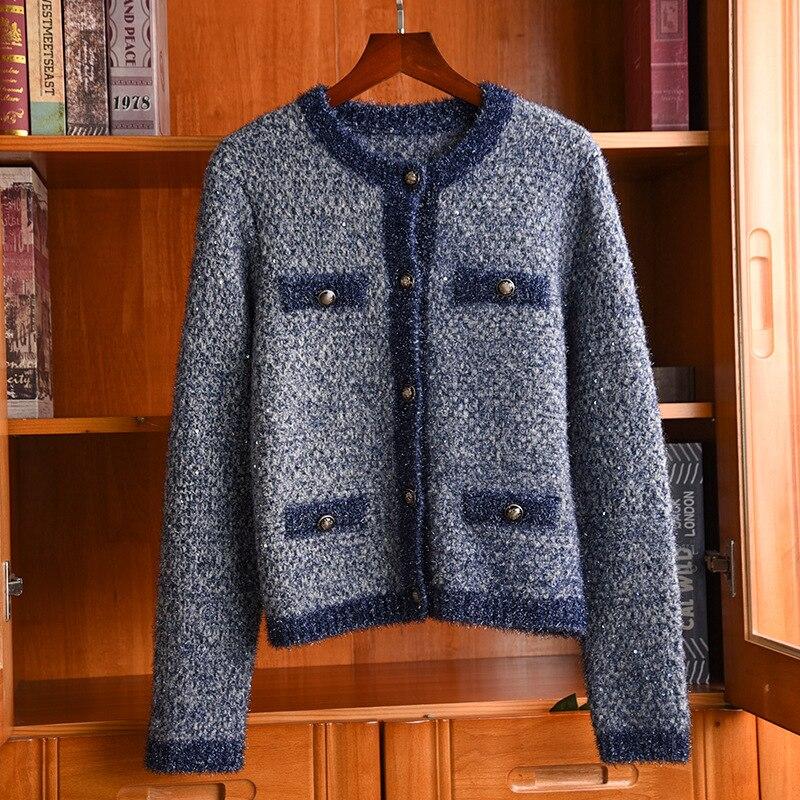 Femmes chandails coréen automne hiver tricot Cardigans o-cou unique boutonnage tricots chandail élégant bleu Cardigan
